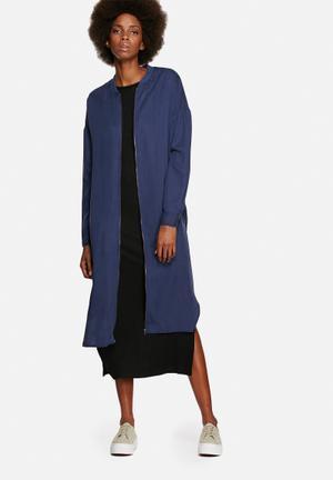 Native Youth Longline Zip Bomber Coats Blue