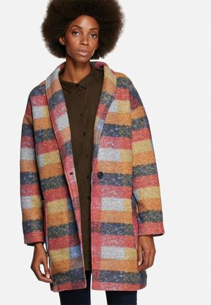 Native Youth Check Oversized Cocoon Coat Multi