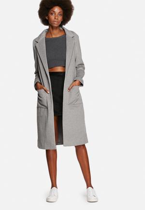 Native Youth Longline Wool Overcoat  Grey