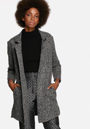 Native Youth Jacquard Knit Coat Black & White