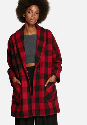 Native Youth Logger Check Shawl Coat Red & Black