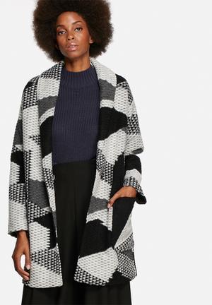 Native Youth Geo Jacquard Coat Black & White