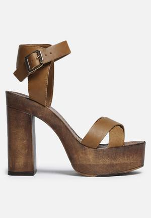 Vero Moda Bea Leather Sandal Heels Cognac