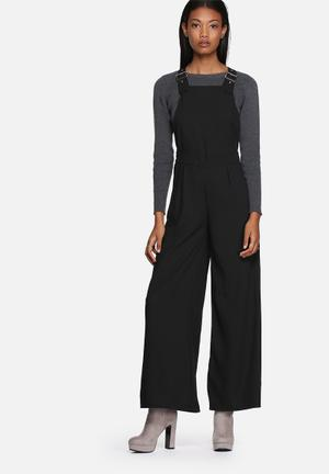 Lola May Buckle Detail Wide Leg Dungarees Jumpsuits & Playsuits Black
