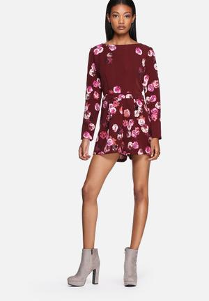 Lola May Floral Long Sleeve Playsuit Burgundy