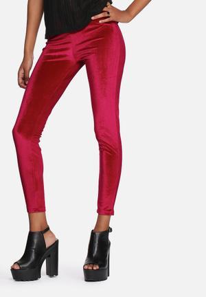 Lola May Velvet Full Length Leggings Trousers Burgundy