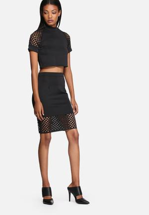 Lola May Circle Cut Out Co-ord Skirts Black