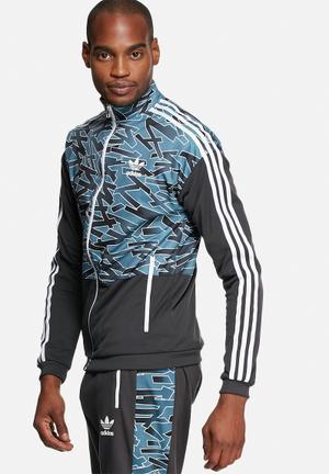 Adidas Originals Shatter Stripe Blocked Track Top Hoodies & Sweatshirts Blue