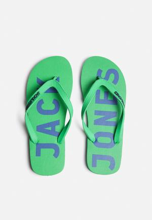 Jack & Jones Footwear & Accessories Logo Rubber Sandals & Flip Flops Green