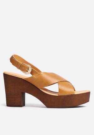 Vero Moda Flica Leather Sandal Heels Tan