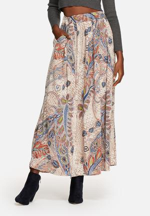 ONLY Mid Waist Maxi Pleated Skirt Beige, Brown, Red, Blue & Green
