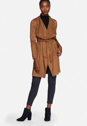 ONLY Renee Faux Suede Coat Brown