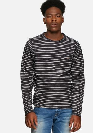 Jack & Jones Vintage Seb Striped Sweat Knitwear Dark Navy