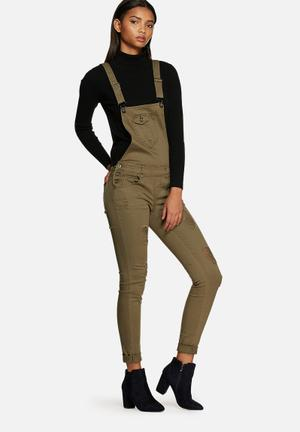 ONLY Kim Witty Dungaree Jeans Khaki