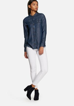 ONLY Nova Raw Denim Shirt Daek Blue Denim
