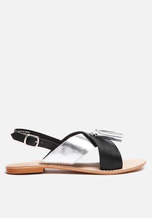 Vero Moda Catja Leather Sandal Black & Silver