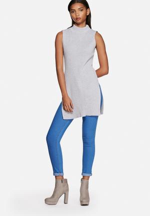 Glamorous Longline Top Knitwear Grey Marl