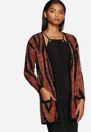 Glamorous Tiger Cardigan Knitwear Black, Red & Gold