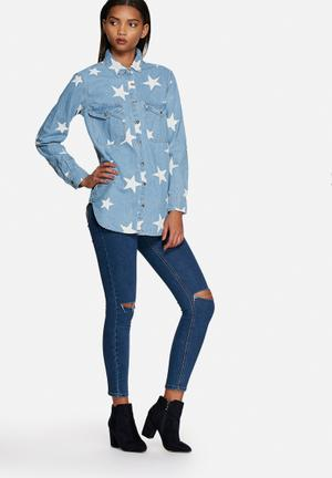 Glamorous Star Denim Shirt  Blue