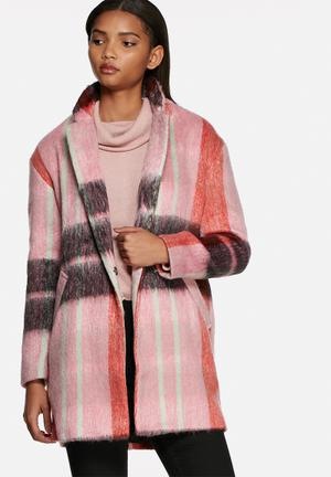 Glamorous Check Coat Pink