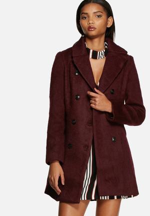 Glamorous Double Breasted Coat Burgundy
