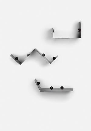 Sixth Floor Shape Shelf 3 Set Black