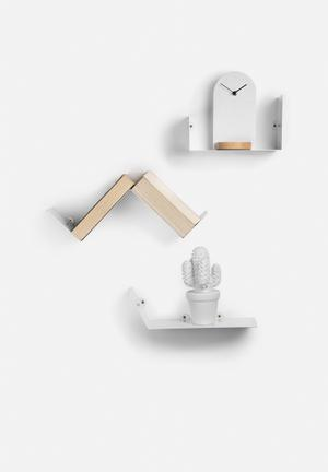 Sixth Floor Shape Shelf 3 Set White