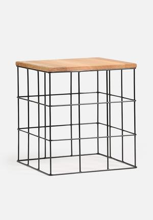 Sixth Floor Square Side Table Mild Steel Base With Wooden Top
