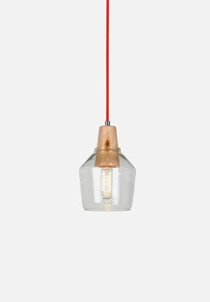 Illumina Scandi Lighting Glass, Metal, Fabric Cord & Wood