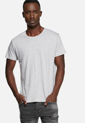 Basicthread Basic Crew Tee T-Shirts & Vests Grey Melange