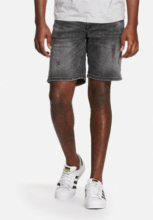Only & Sons Loom Denim Shorts Dark Grey Denim