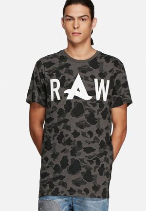 G-Star RAW Afrojack Long Art Tee T-Shirts & Vests Grey, Black & White