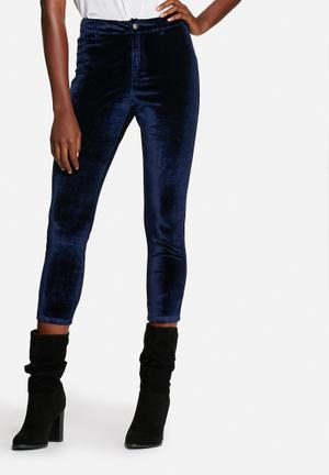 Lola May Velvet Disco Pants Trousers Blue