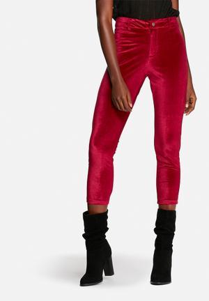 Lola May Velvet Disco Pants Trousers Burgundy