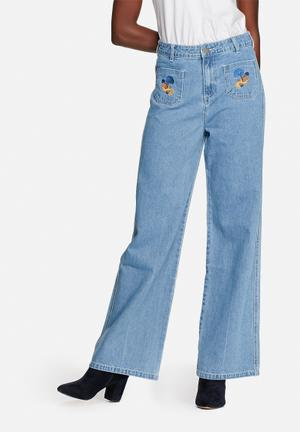 Glamorous Embroidered Wide Leg Jeans Blue