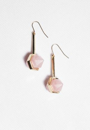 Glamorous Crystal Earrings Jewellery Light Gold & Pink