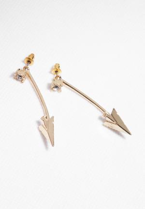 Glamorous Arrow Hook Earrings Jewellery Gold