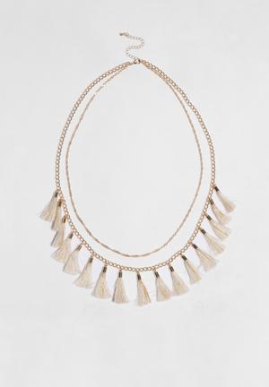 Glamorous Tassel Necklace Jewellery Light Gold & Cream