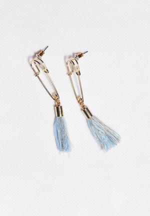 Glamorous Tassel Earrings Jewellery Light Gold & Blue