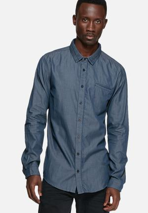GUESS Chambray Regular Shirt Blue