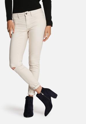 VILA Commit Ripped Skinny Pants Trousers Beige