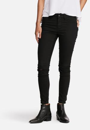 VILA Commit Ripped Skinny Pants Trousers Black