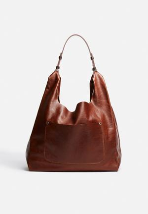 FSP Collection Cassey Leather Hobo Bags & Purses Cognac