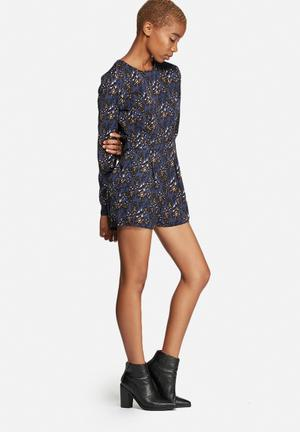 Glamorous Abstract Leopard Playsuit Blue