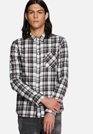 Another Influence Flannel Check Shirt Black & White