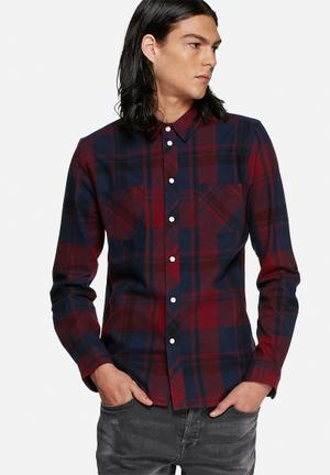 Another Influence Flannel Check Shirt Red & Blue