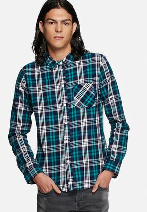 Another Influence Flannel Check Shirt Navy & Blue