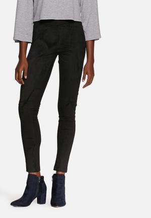 VILA Sue Faux Suede Leggings Trousers Black