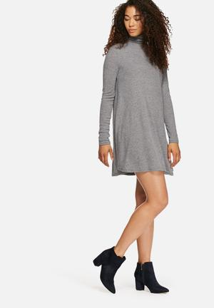 Glamorous Poloneck Dress Casual Grey