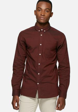 Jack & Jones Premium David Slim Fit Shirt Burgundy